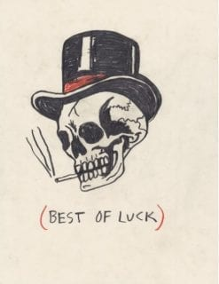 illustration of skull smoking a cigarette and wearing a top hat