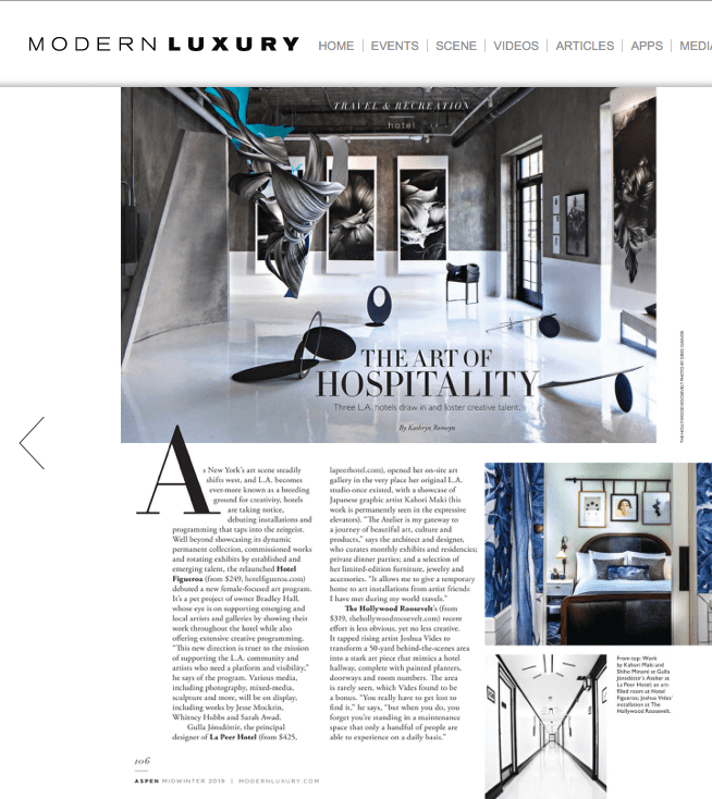 aspen magazine pres article featuring hotel figueroa
