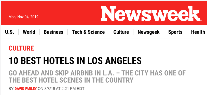U.s. News & World Report: 'best Hotels In Los Angeles'